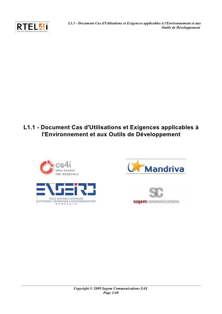L1.1 - Document Cas dUtilisations et Exigences applicables à lEnvironnement et aux                                        ...