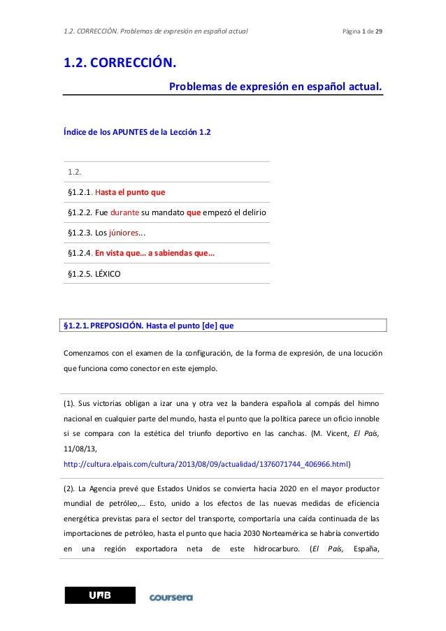 1.2. CORRECCIÓN. Problemas de expresión en español actual Página 1 de 29 1.2. CORRECCIÓN. Problemas de expresión en españo...