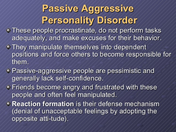 Narcissism and passive aggressive behavior