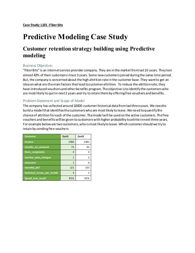 Case Study: L101 -Fiberbits Predictive Modeling Case Study Customer retention strategy building using Predictive modeling ...
