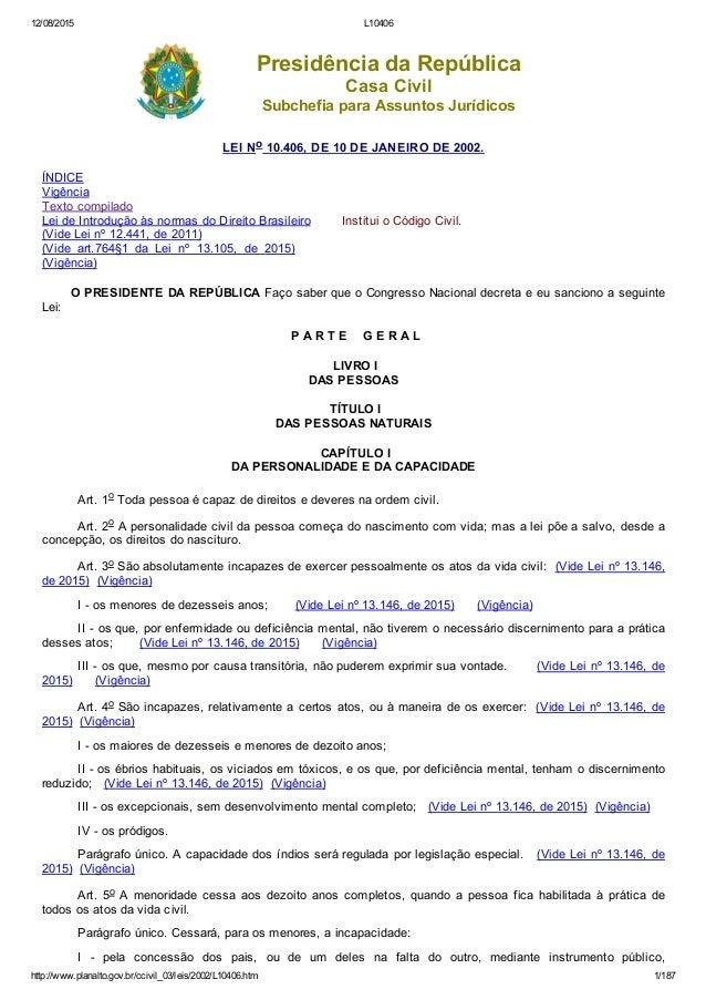 12/08/2015 L10406 http://www.planalto.gov.br/ccivil_03/leis/2002/L10406.htm 1/187 PresidênciadaRepública CasaCivil Subc...