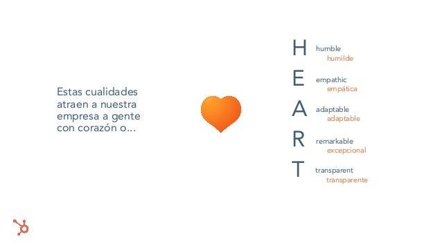 Estas cualidades atraen a nuestra empresa a gente con corazón o... humble empathic adaptable transparent remarkable H E A ...