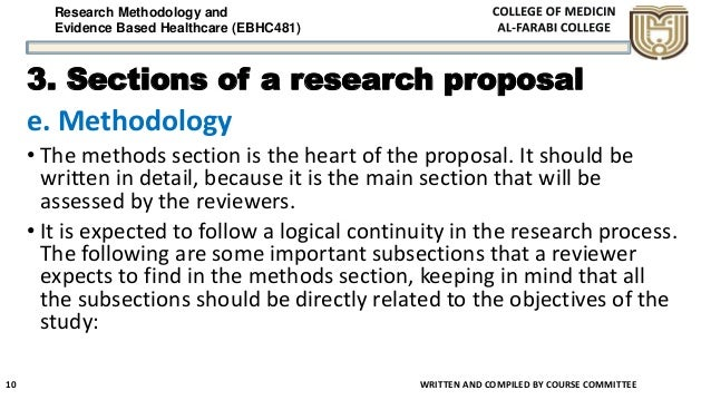 Research Methodology and Evidence Based Healthcare (EBHC481) 3. Sections of a research proposal e. Methodology • The metho...