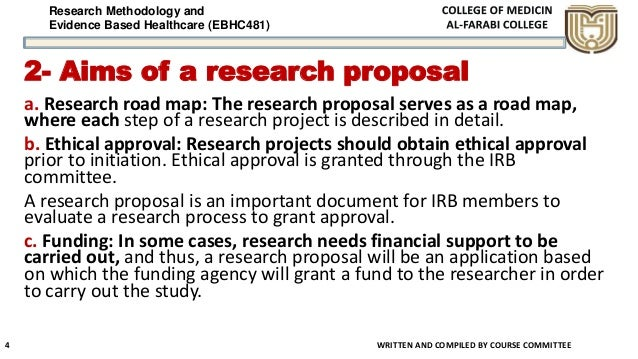 Research Methodology and Evidence Based Healthcare (EBHC481) 2- Aims of a research proposal a. Research road map: The rese...