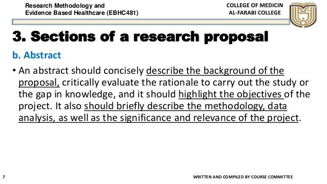 Research Methodology and Evidence Based Healthcare (EBHC481) 3. Sections of a research proposal b. Abstract • An abstract ...