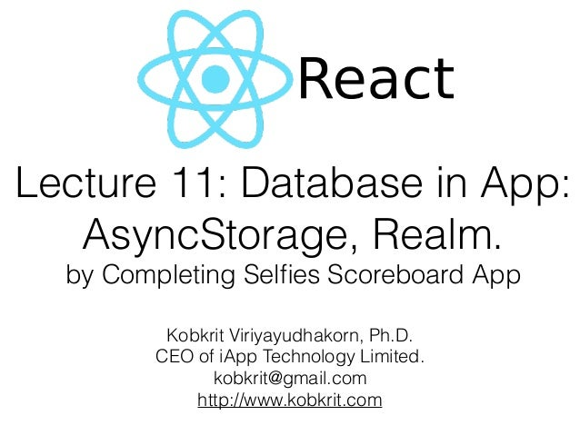 React-Native Lecture 11: In App Storage