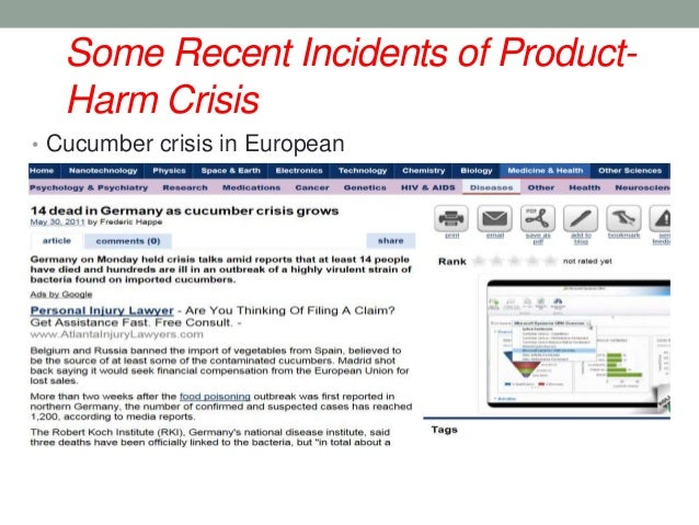 managing a product harm crisis Managing a product-harm crisis akingbasote femi walden university abstract: product-harm crisis has cut across all sphere of united states of america's economy.