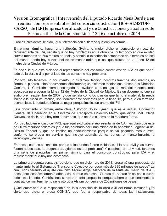 Versión Estenográfica | Intervención del Diputado Ricardo Mejía Berdeja en  reunión con representantes del consorcio const...