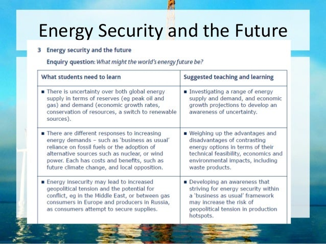 Energy Security and the Future