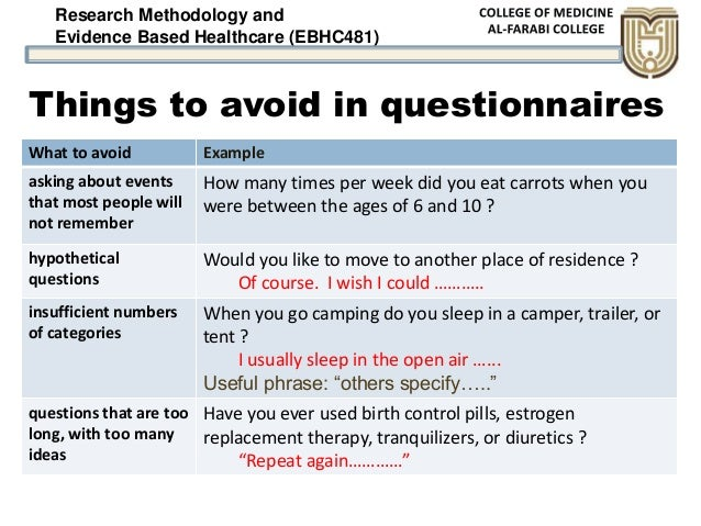 Research Methodology and Evidence Based Healthcare (EBHC481) Things to avoid in questionnaires What to avoid Example askin...