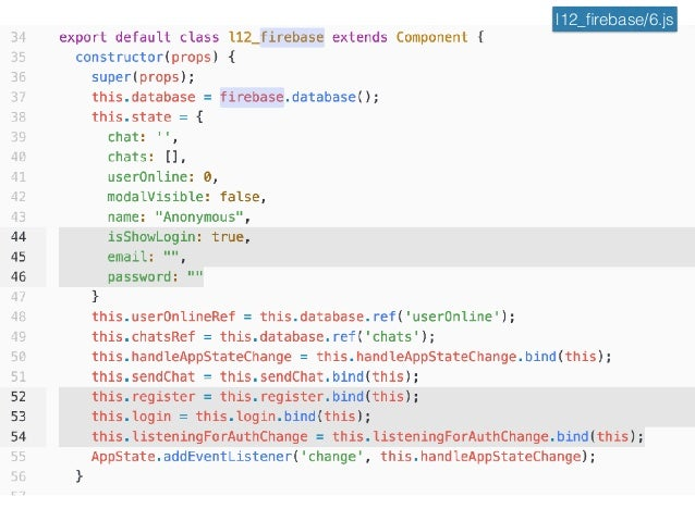 React Native Firebase Realtime Database + Authentication