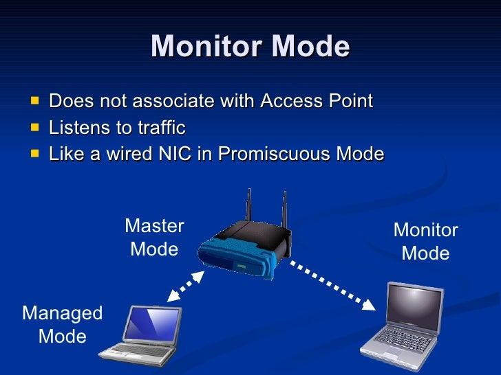 Monitor Mode <ul><li>Does not associate with Access Point </li></ul><ul><li>Listens to traffic </li></ul><ul><li>Like a wi...