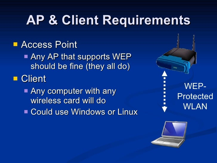AP & Client Requirements <ul><li>Access Point </li></ul><ul><ul><li>Any AP that supports WEP should be fine (they all do) ...