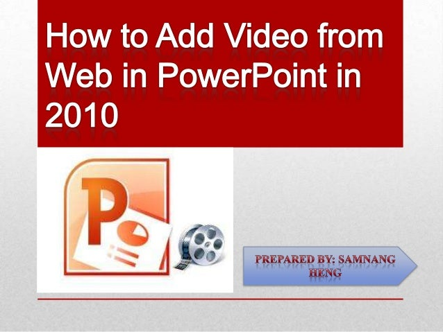 • With PowerPoint open choose the slide  where you want to add a video• Select the Insert tab• Go to Video• Select Video f...