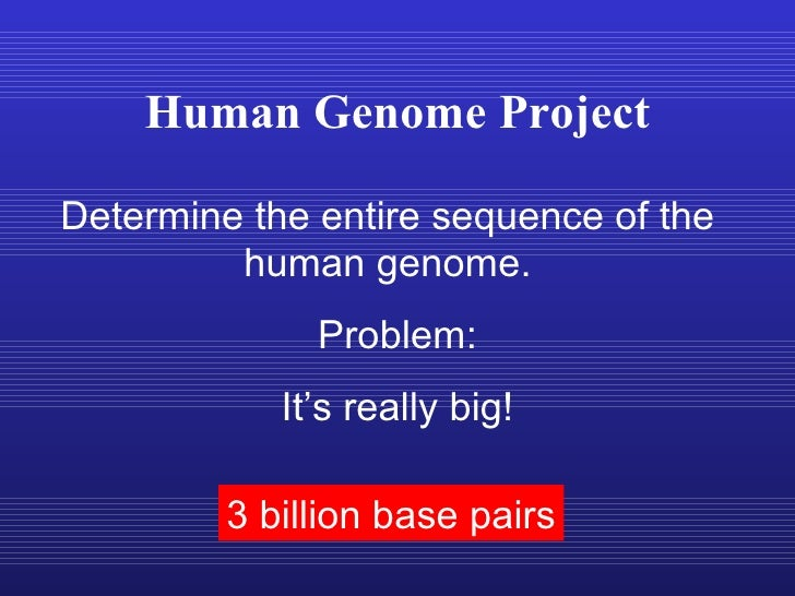 Human Genome Project Determine the entire sequence of the human genome. 3 billion base pairs Problem: It's really big!