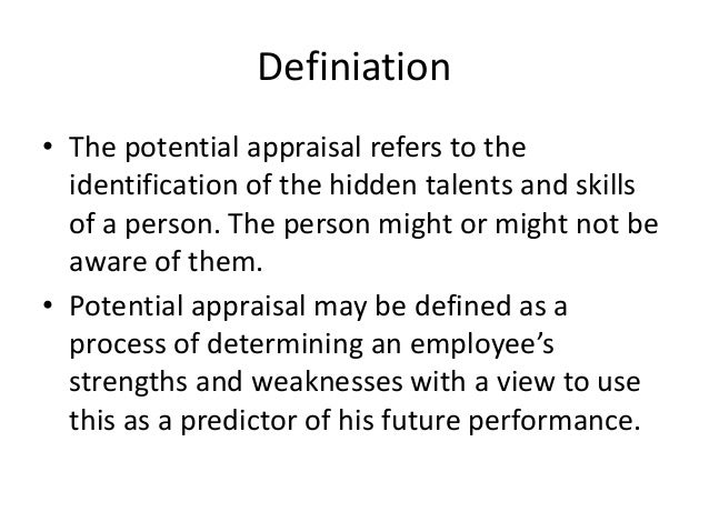 appraisal of high potential employees 24082018 be sure to address only the behaviors of that employee, rather than behaviors of other employees 7 hold the performance appraisal meeting.