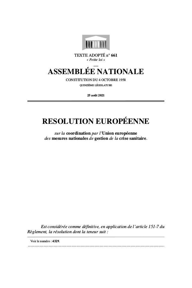 TEXTE ADOPTÉ n° 661 « Petite loi » __ ASSEMBLÉE NATIONALE CONSTITUTION DU 4 OCTOBRE 1958 QUINZIÈME LÉGISLATURE 25 août 202...