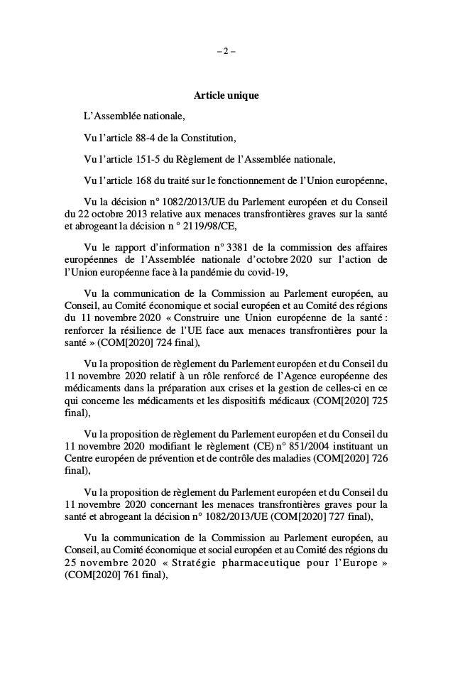 Résolution de l'Assemblée Nationale sur les crises sanitaires Slide 2