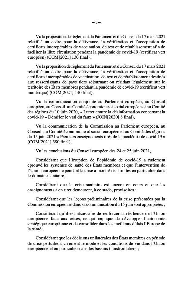 Résolution de l'Assemblée Nationale sur les crises sanitaires Slide 3