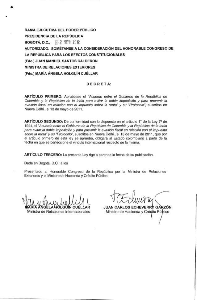 Acuerdo Entre Colombia y India de Doble Tributacion Ley 1668 de 2013