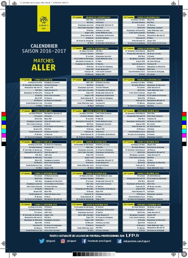 Sco Angers Calendrier.Calendrier De Ligue 1 2016 2017