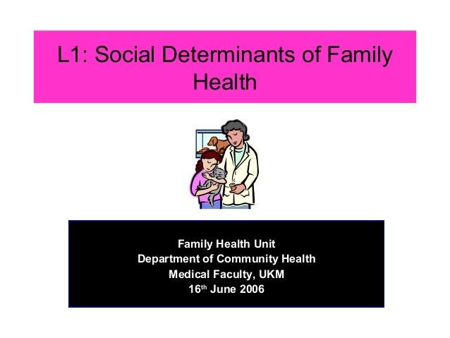 L1: Social Determinants of Family             Health           Dr Rahmah Mohd Amin             Family Health Unit       De...