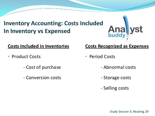 Costs Included in Inventories• Product Costs- Cost of purchase- Conversion costsStudy Session 9, Reading 29Costs Recognize...