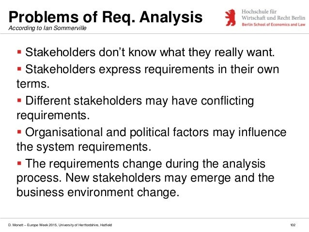 D. Monett – Europe Week 2015, University of Hertfordshire, Hatfield Problems of Req. Analysis  Stakeholders don't know wh...