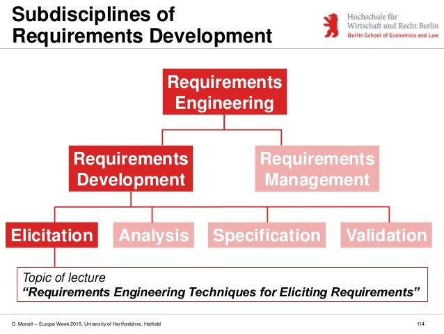 D. Monett – Europe Week 2015, University of Hertfordshire, Hatfield 114 Subdisciplines of Requirements Development Require...