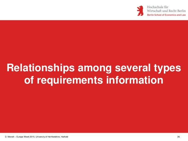D. Monett – Europe Week 2015, University of Hertfordshire, Hatfield 26 Relationships among several types of requirements i...