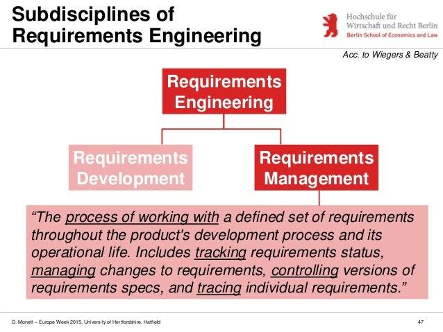 D. Monett – Europe Week 2015, University of Hertfordshire, Hatfield 47 Subdisciplines of Requirements Engineering Requirem...