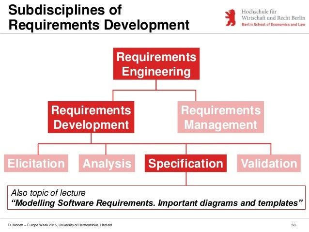D. Monett – Europe Week 2015, University of Hertfordshire, Hatfield 53 Subdisciplines of Requirements Development Requirem...