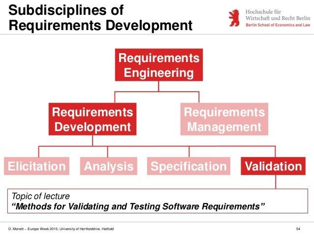 D. Monett – Europe Week 2015, University of Hertfordshire, Hatfield 54 Subdisciplines of Requirements Development Requirem...