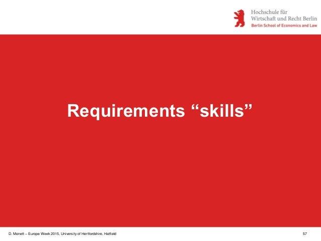 """D. Monett – Europe Week 2015, University of Hertfordshire, Hatfield 57 Requirements """"skills"""""""
