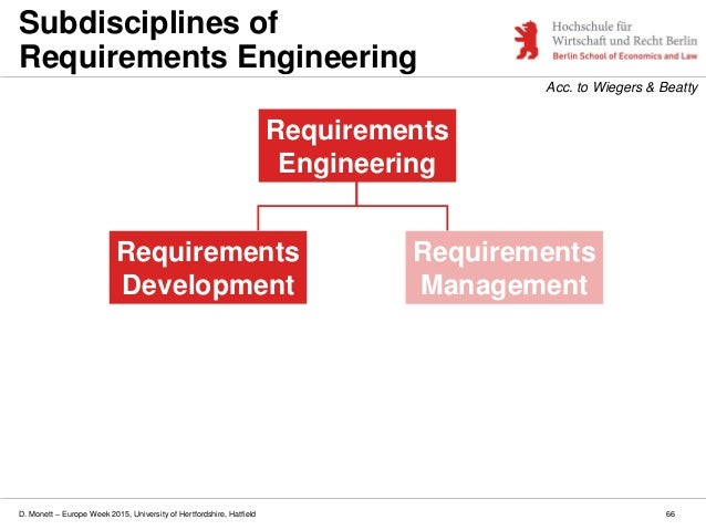D. Monett – Europe Week 2015, University of Hertfordshire, Hatfield 66 Subdisciplines of Requirements Engineering Requirem...