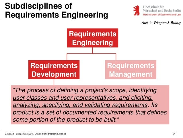 D. Monett – Europe Week 2015, University of Hertfordshire, Hatfield 67 Subdisciplines of Requirements Engineering Requirem...