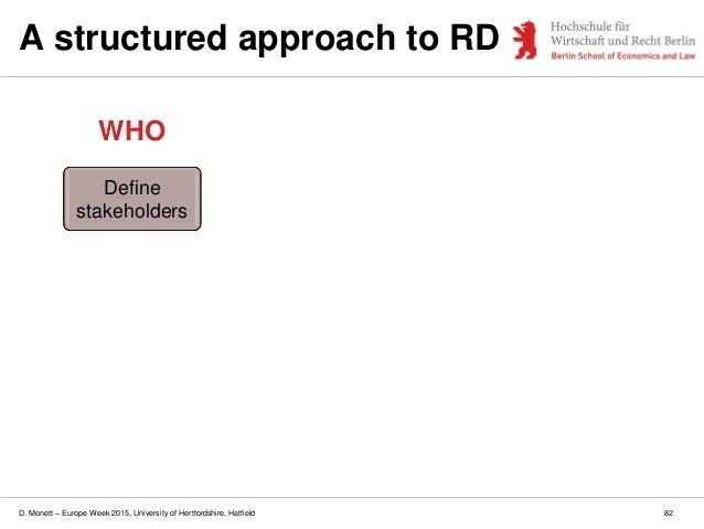 D. Monett – Europe Week 2015, University of Hertfordshire, Hatfield 82 A structured approach to RD Define stakeholders WHO
