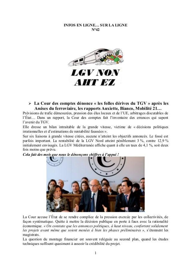 INFOS EN LIGNE… SUR LA LIGNE N°42  La Cour des comptes dénonce « les folles dérives du TGV » après les Assises du ferrovi...