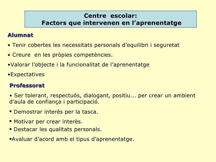 Centre  escolar: Factors que intervenen en l'aprenentatge <ul><li>Alumnat </li></ul><ul><li>Tenir cobertes les necessitats...