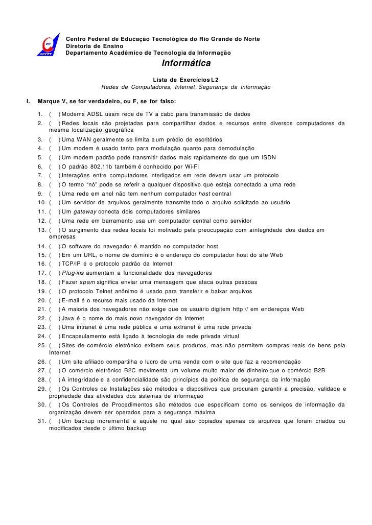 Centro Federal de Educação Tecnológica do Rio Grande do Norte                  Diretoria de Ensino                  Depart...