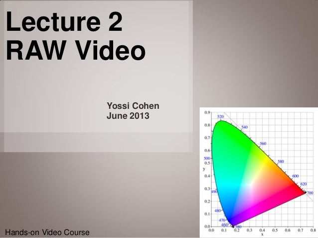 1Hands-on Video CourseHands-on Video CourseYossi CohenJune 2013Lecture 2RAW Video