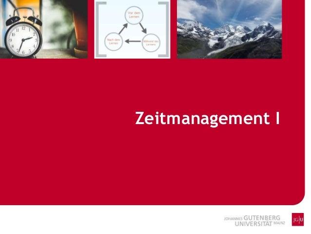 Zeitmanagement I