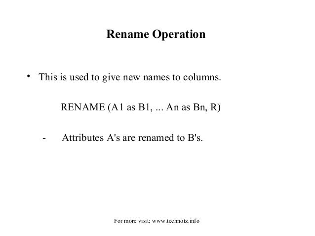 relational algebra operations in dbms pdf