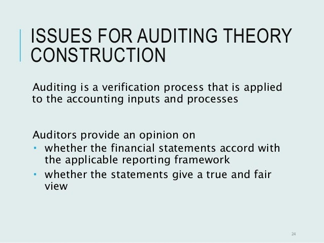 auditing theories Auditing theory & practice audit practice and reporting on financial statements audit standards, the demand for auditing, and regulatory, legal, and ethical.