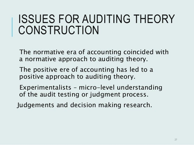 auditing theory Auditing has been present for years in different stage of development following the evolution of accounting.