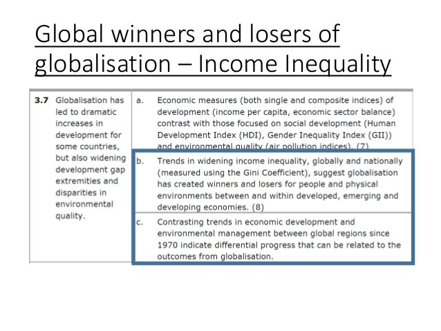 Global winners and losers of globalisation – Income Inequality