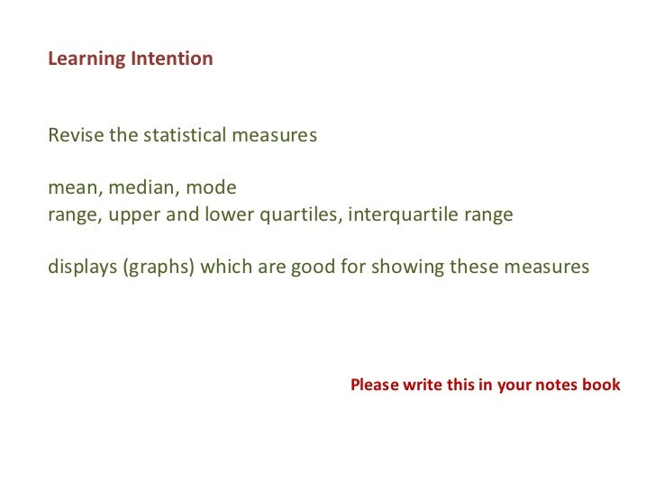 Learning IntentionRevise the statistical measuresmean, median, moderange, upper and lower quartiles, interquartile rangedi...