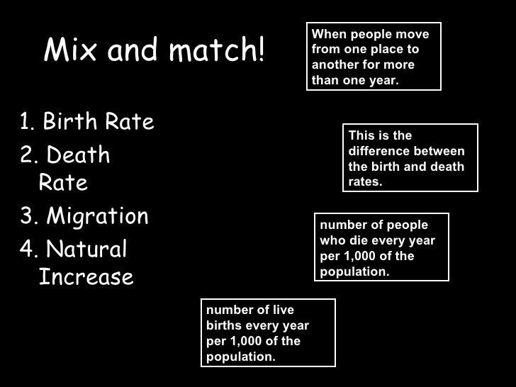 Mix and match! <ul><li>1. Birth Rate </li></ul><ul><li>2. Death Rate </li></ul><ul><li>3. Migration </li></ul><ul><li>4. N...