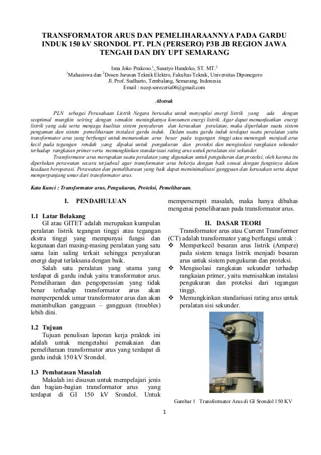 TRANSFORMATOR ARUS DAN PEMELIHARAANNYA PADA GARDU    INDUK 150 kV SRONDOL PT. PLN (PERSERO) P3B JB REGION JAWA            ...
