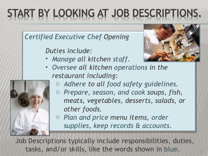 L2 job skills identification ppt show for Kitchen job description